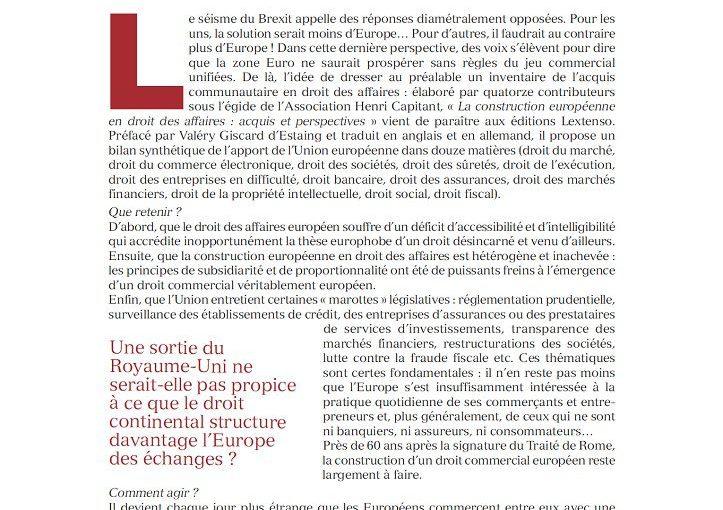 Du Brexit au Code européen des affaires