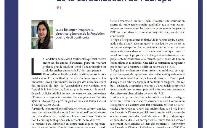 Un code européen des affaires, le droit au cœur de la consolidation de l'Europe