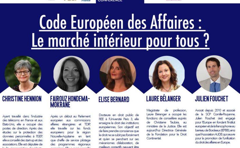 Code Européen des Affaires : Le marché intérieur pour tous ?