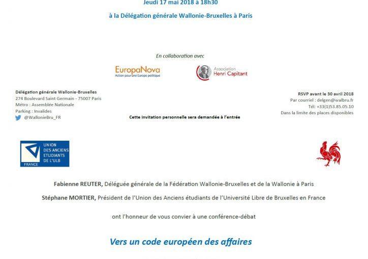 Conférence-débat : Vers un code européen des affaires / le 17 mai 2018 à Paris