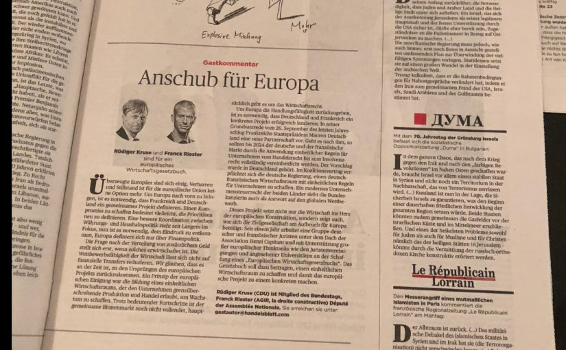 Tribune sur le Code européen des affaires signée par Rüdiger Kruse et Franck Riester parue dans le Handelsblatt