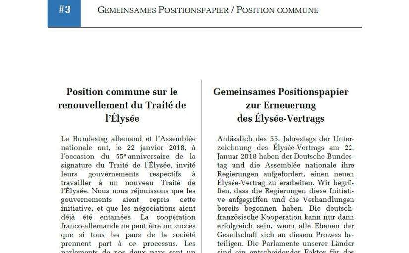 Europäisches Wirtschaftsgesetzbuch / Elysée-Vertrag / Gemeinsames Positionspapier Assemblée Nationale – Bundestag