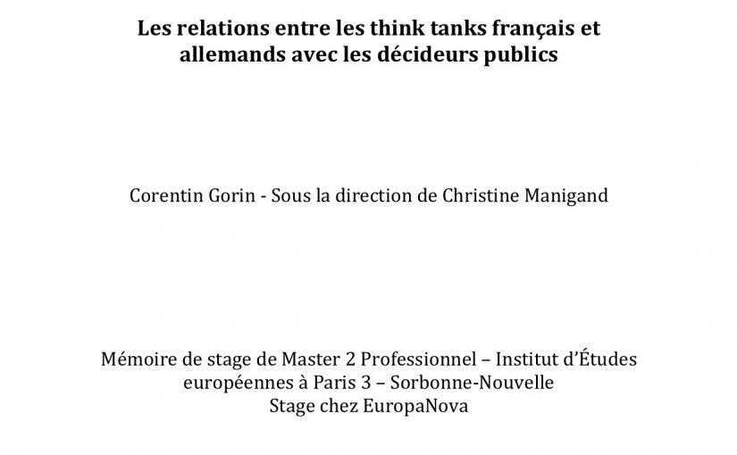 Les relations entre les think tanks français et allemands avec les décideurs publics