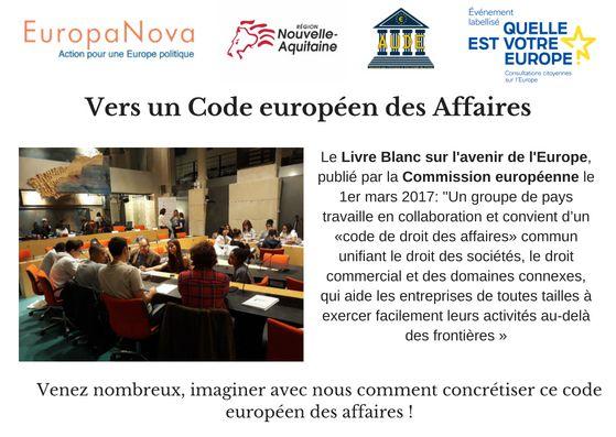 Débat délibératif Code européen des Affaires le 11 octobre 2018 à Bordeaux