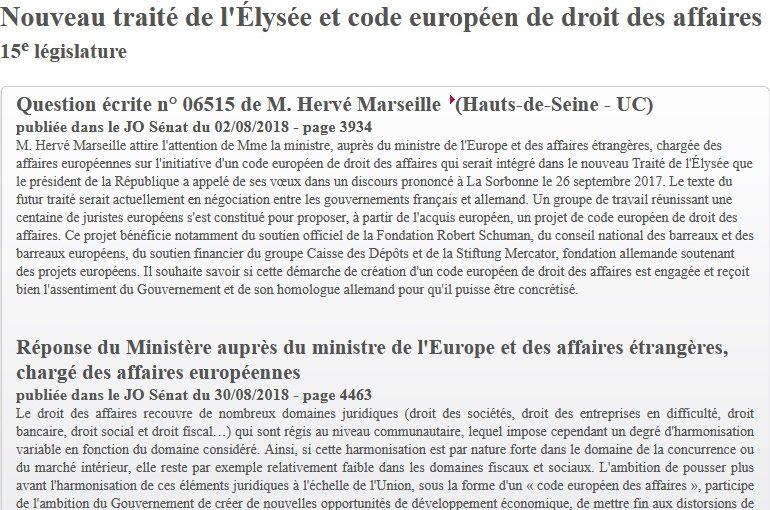 Code européen des affaires / Soutien du Ministère français de l'Europe au projet de Code européen des affaires