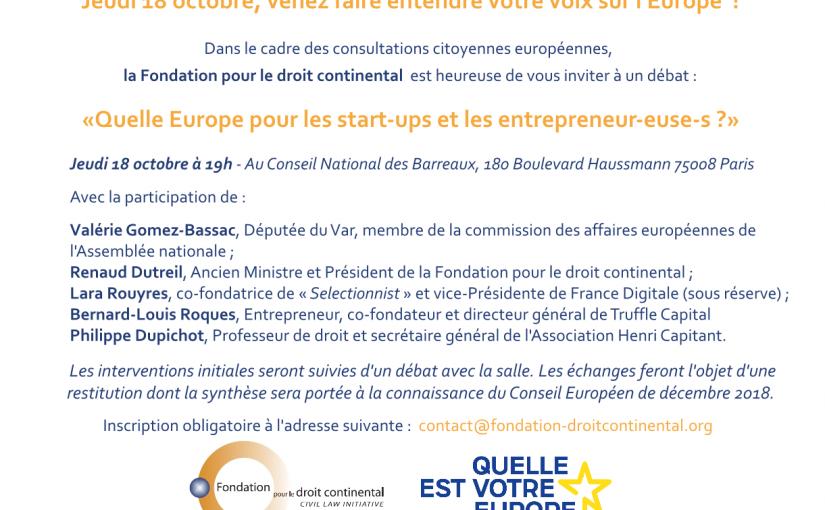 Consultation citoyenne Europe / Code européen des affaires / Start-ups et entrepreneurs