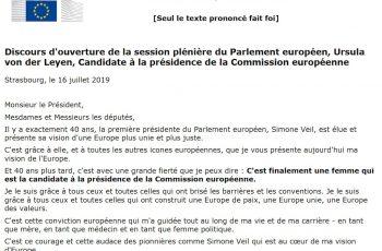 Discours d'ouverture de la session plénière du Parlement européen, Ursula von der Leyen, Candidate à la présidence de la Commission européenne