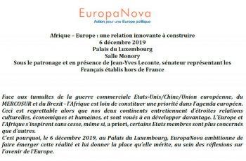 Conférence Afrique – Europe, le 6 décembre 2019 à Paris