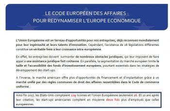 Le code européen des affaires : pour redynamiser l'Europe économique