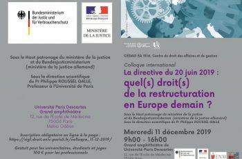 Colloque international sur le droit de l'insolvabilité, le 11 décembre 2019 à Paris