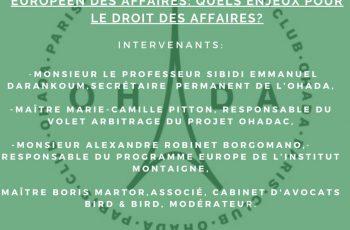 Conférence OHADA du Club OHADA Paris, le 11 mars 2020 à Paris