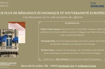 Webinaire sur le Code européen des affaires : Pour plus de résilience économique et souveraineté européenne, le 1er juillet 2020