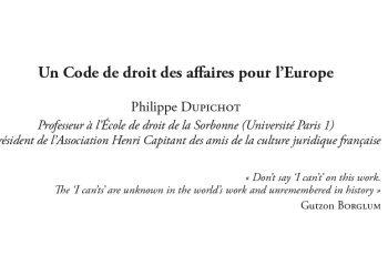 Un Code de droit des affaires pour l'Europe