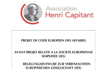 Code européen des affaires : Avant-projet relatif à la Société Européenne Simplifiée